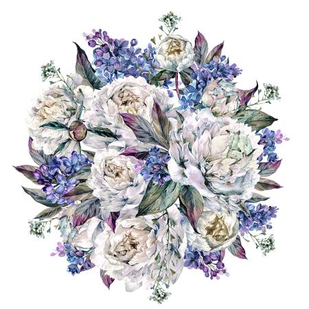 Aquarel ronde boeket gemaakt van bloeiende witte pioenrozen en lila, gebladerte en Sheperd's Purse Plant, geïsoleerd op een witte achtergrond. Vintage stijl bruiloft decoratie.