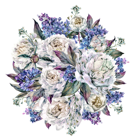 Watercolor Round Bouquet Made of Blooming White Peonies and Lilac, Foliage and Sheperds Purse Plant, Isolated on White Background. Vintage Style Wedding Decoration.