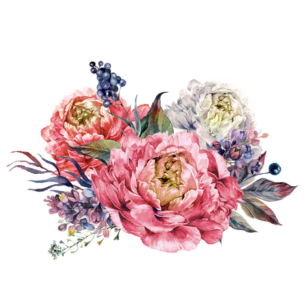 Watercolor Bouquet made of Blooming Pink Peonies, Lilac, Privet Berries and Foliage. Romantic Spring Flower Arrangement. Vintage Wedding Decoration Isolated on White.