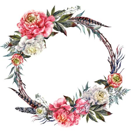 Aquarel bloemen krans gemaakt van pioenrozen, lederen bladeren, fazantveren en twijgen, geïsoleerd op een witte achtergrond. Vintage stijl bruiloft decoratie.