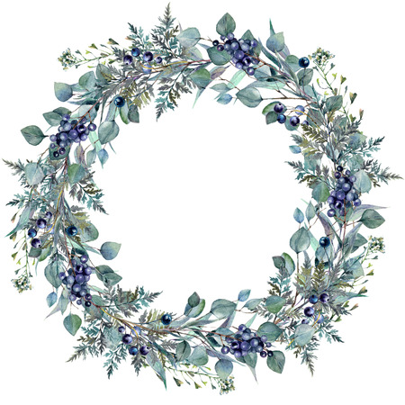 Watercolor Foliage Wreath Made of Silver Eucalyptus, Italian Ruscus, Fern, Privet Berries and Shepherd's Purse Plants. Greenery Vine Garland. Vintage Style Wedding Decoration.
