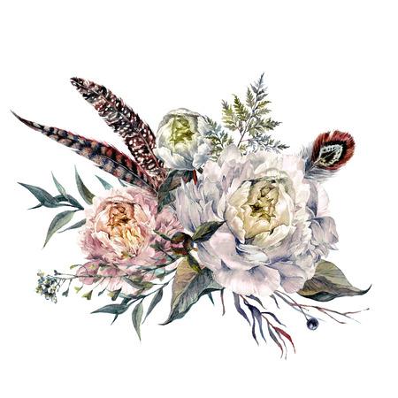 Aquarel boeket gemaakt van bloeiende witte pioenrozen, wilde fazantveren, wilde kruiden en bladeren. Romantisch voorjaars bloemstuk. Vintage bruiloft decoratie geïsoleerd op wit. Stockfoto - 74367628
