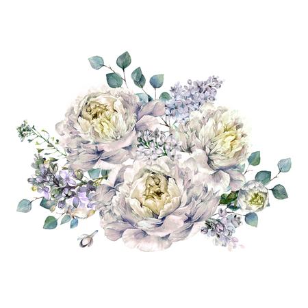 Aquarel boeket gemaakt van bloeiende witte pioenrozen, lila en zilver eucalyptus gebladerte. Romantisch voorjaars bloemstuk. Vintage bruiloft decoratie geïsoleerd op wit. Stockfoto