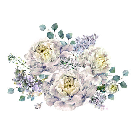 Watercolor Bouquet made of Blooming White Peonies, Lilac and Silver Eucalyptus Foliage. Romantic Spring Flower Arrangement. Vintage Wedding Decoration Isolated on White. Фото со стока
