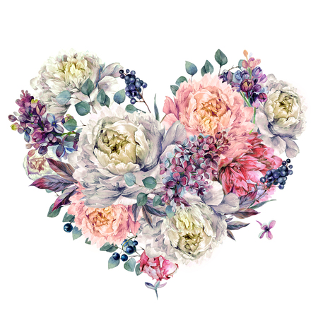 Watercolor Heart Shaped Floral Decoration made of Peonies, Lilac, Silver Eucalyptus and Privet Berries. Vintage Style Wedding Decoration Isolated on White. Stockfoto