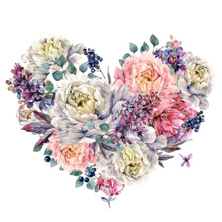 Aquarel hartvormige florale decoratie gemaakt van pioenen, lila, zilvereucalyptus en ligusterbessen. Vintage stijl bruiloft decoratie geïsoleerd op wit. Stockfoto