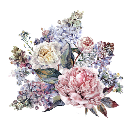 Watercolor Bouquet made of Blooming Peonies, Lilac and Foliage. Romantic Spring Flower Arrangement. Wedding Decoration Isolated on White.