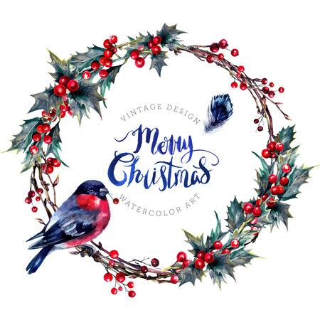 Aquarel kerstkrans gemaakt van droge takjes, rode hulstbessen en groene bladeren met een mannelijke goudvink erop. Yule Chaplet. Nieuwjaar Winter decoratie geïsoleerd op wit. Vintage-stijl.