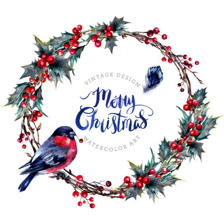 Watercolor Christmas Wreath Made of Dry Twigs, Red Holly Berries and Green Leaves with a Male Bullfinch Sitting on It. Yule Chaplet. New Year Winter Decoration Isolated on White. Vintage Style.