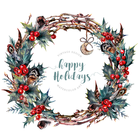 Watercolor Boho Christmas Wreath Made of Dry Twigs, Red Holly Berries and Green Leaves, Cypress Branches, Feathers and Wooden Moon. New Year Winter Decoration Isolated on White. Vintage Style.