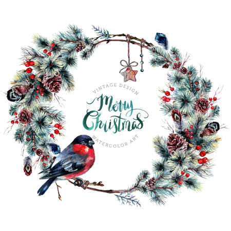 Watercolor Boho Christmas Wreath Made of Twigs, Pine Branches with Cones, Hawthorn and Holly Berries and Feathers with a Bullfinch. New Year Winter Decoration Isolated on White. Vintage Style.