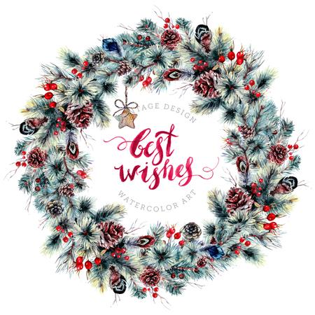 Aquarel kerst Boho krans gemaakt van naaldtakken, kegels, hulstbessen, meidoorn, veren en rustieke houten hangers. Winter decoratie geïsoleerd op wit. Poster sjabloon in vintage stijl Stockfoto - 74140772