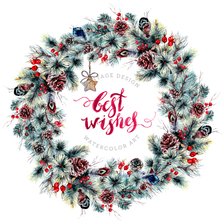 Watercolor Christmas Boho Wreath Made of Coniferous Branches, Cones, Holly Berries, Hawthorn, Feathers and Rustic Wooden Pendants. Winter Decoration Isolated on White. Poster Template in Vintage Style Иллюстрация