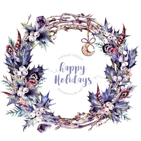 Watercolor Boho Christmas Wreath Made of Twigs, White Holly Berries and Green Leaves, Cypress Branches, Feathers and Wooden Moon. New Year Winter Decoration Isolated on White. Vintage Style.