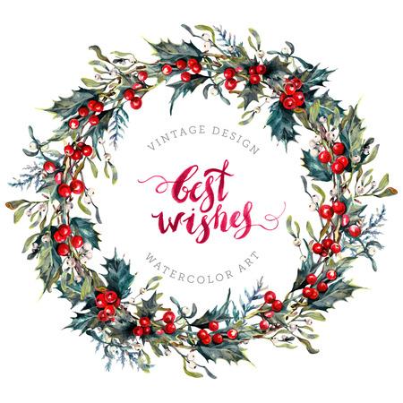 Aquarel kerst krans gemaakt van hulst bessen en groene bladeren, Maretak en Cypress takken. Nieuwjaar Winter decoratie geïsoleerd op wit. Yule Chaplet. Botanische illustratie in vintage stijl. Stockfoto - 74140774