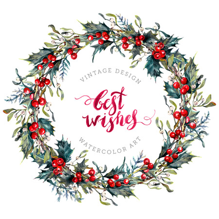 Watercolor Christmas Wreath Made of Holly Berries and Green Leaves, Mistletoe and Cypress Branches. New Year Winter Decoration Isolated on White. Yule Chaplet. Botanical Illustration in Vintage Style. Иллюстрация