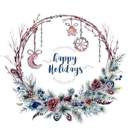 Acquerello Boho corona di Natale fatta di rami secchi, rami di pino con coni, piume, bacche blu e stella di legno, luna e fiocco di neve con perline. Decorazione invernale isolata on White. Stile vintage. Vettoriali