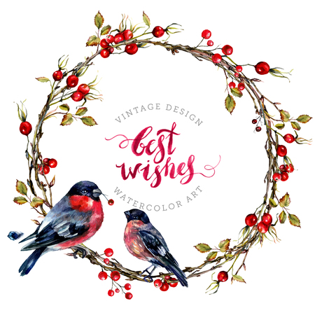 Watercolor Wreath Made of Dry Twigs, Hawthorn Berries and a Couple of Bullfinches Sitting on It. Yule Chaplet. New Year Winter Decoration Isolated On White. Vintage Style.