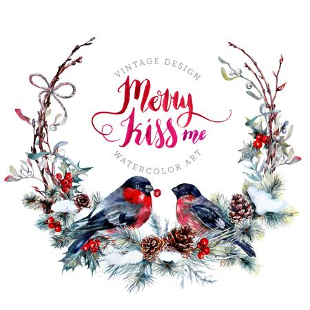 Aquarel kerstkrans gemaakt van sneeuw vuren takken, kegels, rode hulst bessen, maretak bladeren en droge takjes met een paar goudvinken. Feestelijke decoratie geïsoleerd op wit. Vintage-stijl. Stock Illustratie