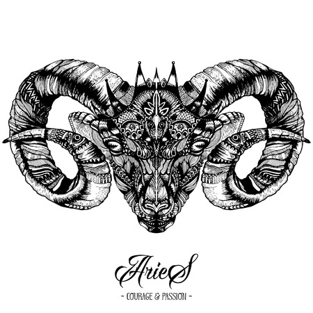 Zodiacal Aries Ink Drawing Isolated on White. Ram Head in Zentangle Style. Zodiac Sigh made of Ethnic Doodle Pattern. Trendy Tattoo Design. Hipster T-Shirt Print.