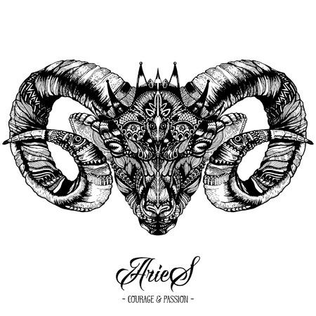 Zodiacal Aries Ink Tekening Geïsoleerd Op Wit. Ram Head in Zentangle Style. Zodiac Sigh gemaakt van etnische Krabbelpatroon. Trendy Tattoo Design. Hipster T-Shirt Print. Stock Illustratie
