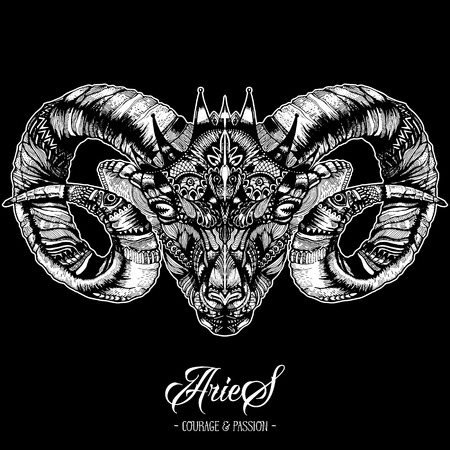 Zodiacal Aries Ink Drawing Isolated on Black. Ram Head in Zentangle Style. Zodiac Sigh made of Ethnic Doodle Pattern. Trendy Tattoo Design. Hipster T-Shirt Print. Иллюстрация