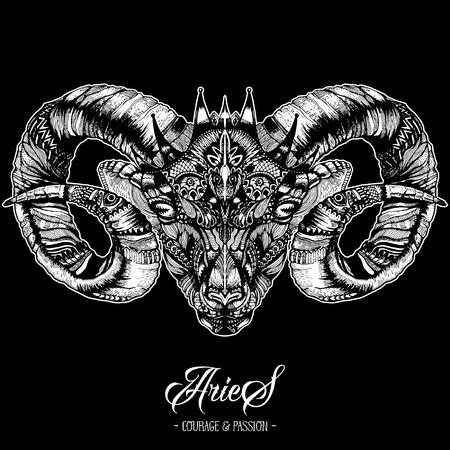 Zodiacal Ram inkttekening geïsoleerd op zwart. Ram Head in Zentangle-stijl. Zodiac Sigh gemaakt van etnische Doodle patroon. Trendy tattoo ontwerp. Hipster T-shirt afdrukken.