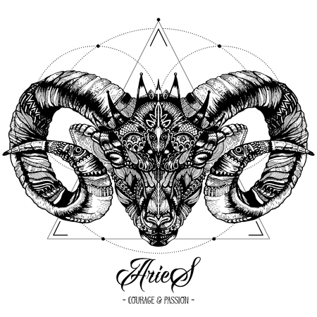 Zodiakaal Ram en Heilige Geometrie Inkttekening geïsoleerd op wit. Ram Head in Zentangle-stijl. Zodiac Sigh gemaakt van etnische Doodle patroon. Trendy tattoo ontwerp. Hipster T-shirt afdrukken.