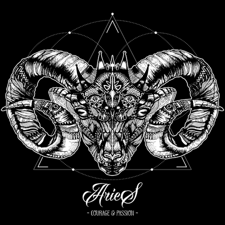 Zodiacal Aries and Sacred Geometry Ink Drawing Isolated on Black. Ram Head in Zentangle Style. Zodiac Sigh made of Ethnic Doodle Pattern. Trendy Tattoo Design. Hipster T-Shirt Print.