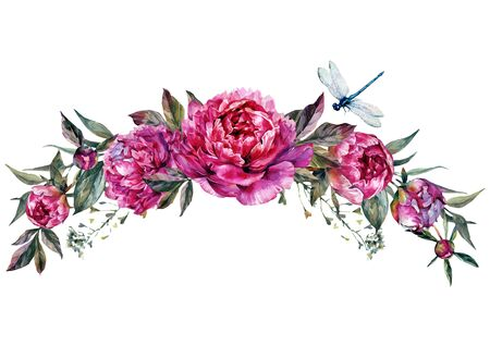 Watercolor Floral Decoration made of Fuchsia Peonies, Buds, Foliage and Dragonfly. Botanical Illustration in Vintage Style. Wedding Decoration Isolated on White.