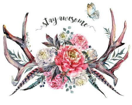 Watercolor Painting of Deer Antlers Decorated with Pink and White Peonies, Pheasant Feathers, Berries and Foliage, Isolated on White Background. Boho, Shabby Chic Flower Arrangement. Fashion Print.