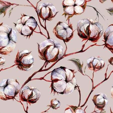 Watercolor Seamless Pattern made of Branches of Dry Cotton Balls and Twigs. Botanical Decor in Rustic Style. Rural Nature Boho Textile Design.