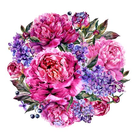 Watercolor Round Bouquet Made of Blooming Fuchsia Peonies and Lilac, Foliage and Privet Berries, Isolated on White Background. Vintage Style Floral Wedding Decoration.