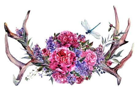 Watercolor Painting of Deer Antlers Decorated with Bouquet of Pink and White Peonies, Lilac, Berries and Foliage, Isolated on White Background. Boho, Shabby Chic Flower Arrangement. Fashion Print. Stock Illustratie