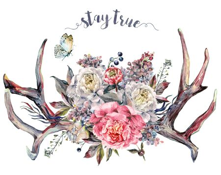 Watercolor Painting of Deer Antlers Decorated with Bouquet of Pink and White Peonies, Lilac, Berries and Foliage, Isolated on White Background. Boho, Shabby Chic Flower Arrangement. Fashion Print.