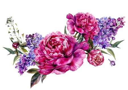 Watercolor Floral Decoration made of Fuchsia Peonies, Lilac and Foliage. Botanical Illustration in Vintage Style. Wedding Decoration Isolated on White.