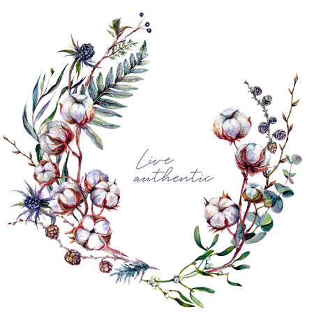 Watercolor Floral Wreath made of Cotton Plant, Eucalyptus Greenery, Thistle, and Mistletoe Isolated on White. Boho Style Arrangement. Botanical Vintage Wedding Decor. Scandinavian Nature Design. Stock Illustratie