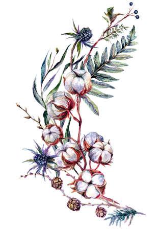 Watercolor Floral Decoration made of Cotton Plant, Eucalyptus Greenery, Blue Thrisle and Mistletoe Isolated on White. Boho Style Arrangement. Botanical Vintage Wedding Decor. Scandinavian Nature Design