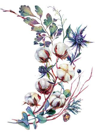 Watercolor Floral Decoration made of Cotton Plant, Eucalyptus Greenery, Blue Thrisle and Mistletoe Isolated on White. Boho Style Arrangement. Botanical Vintage Wedding Decor. Scandinavian Nature Design 矢量图片