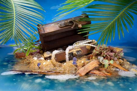 valuables:  Treasure Island with painted Sky