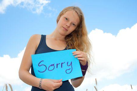 arrepentimiento: Escudo de espect�culos de las mujeres j�venes: lo siento