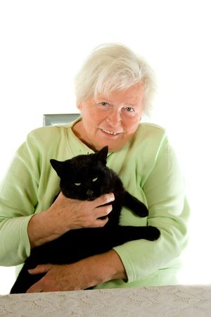 about age: Woman and cat