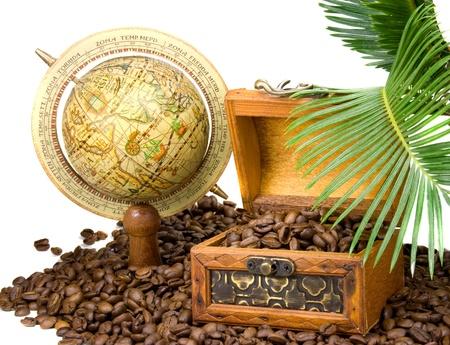 treasure chest on coffee beans photo