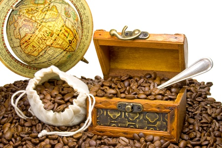 treasure chest filled with coffee beans photo