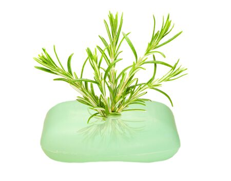 helthcare: thyme growing on a bar of soap
