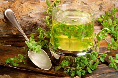 thé de Brahmi sur un fond en bois de guérison des tisanes. Banque d'images