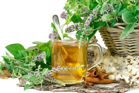 herb tea: Herbal tea with mentha and sage Stock Photo