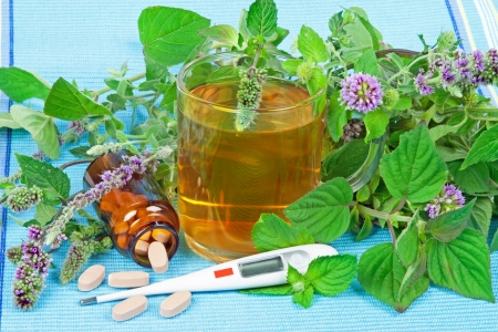 naturopathy: Herbal tea with sage and mentha and organic pills