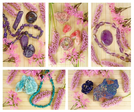ragged robin: gemstones on wooden background, with blossoms of Bistort (Persicaria bistorta) and  Ragged Robin (Lychnis flos-cuculi)