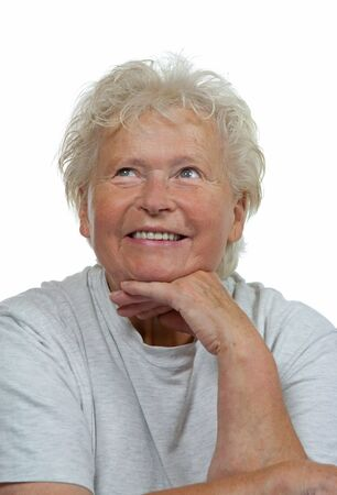 sholders: Portrait of a happy senior woman on white background